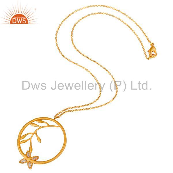 Suppliers 18k Yellow Gold Plated Flower Design White Zirconia Brass Chain Pendant Necklace