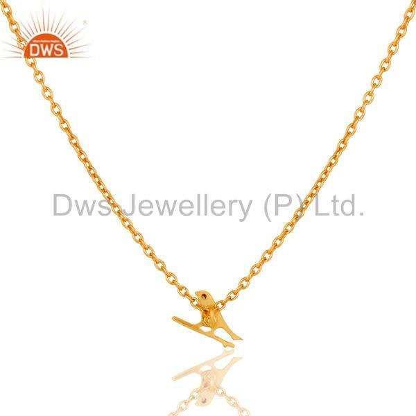 Suppliers 18K Yellow Gold Plated Handmade Bird Design Brass Chain Pendant Necklace