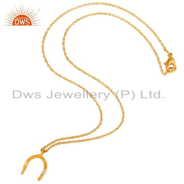 Suppliers 18k Yellow Gold Plated White Zircon Boho Style Brass Chain Pendant