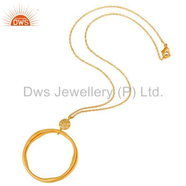 Suppliers 18k Yellow Gold Plated Fashion Round Cut White Zircon Brass Chain Pendant