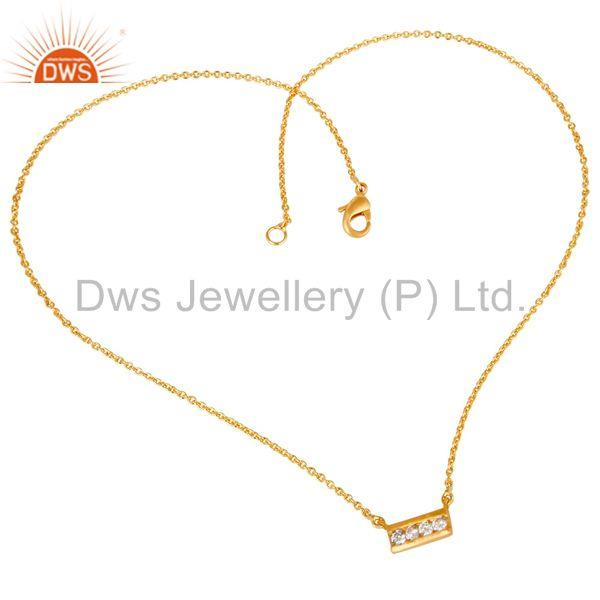 Suppliers Simple Bar Design Handmade Gold Plated Brass Fashion Chain Pendant