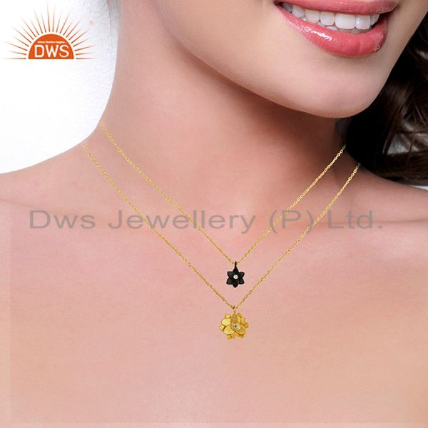 Suppliers Traditional Handmade 22K Gold Plated Little Lotus Design Brass Chain Pendant