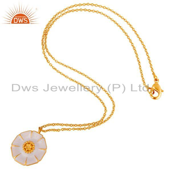 Suppliers 18K Gold Plated Handmade Flower Design Brass Chain Pendant Necklace
