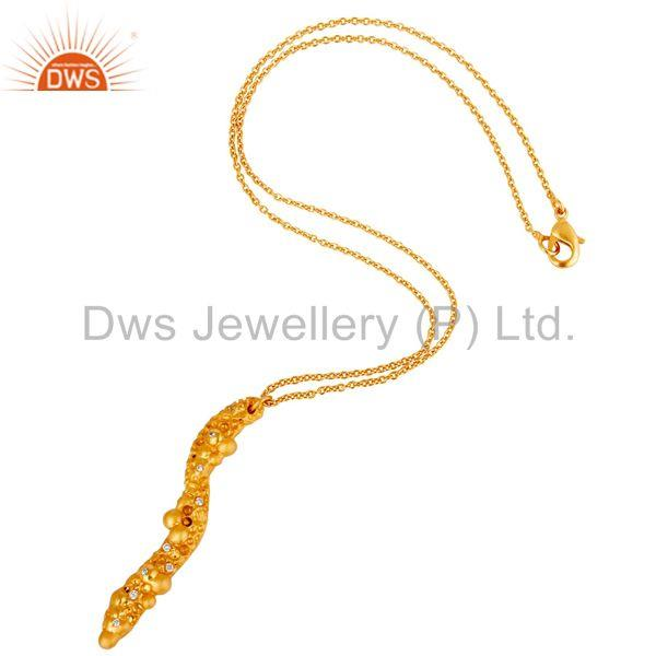 Suppliers 18k Yellow Gold Plated White Zirconia New Fashion Brass Chain Pendant Necklace