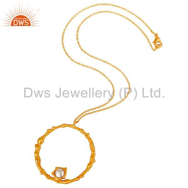 Suppliers 18k Gold Plated Old Fashion Handmade Pearl Brass Chain Pendant Necklace