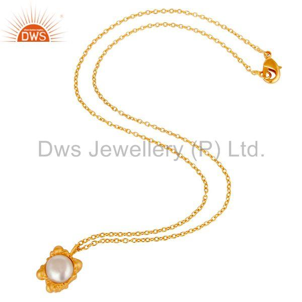 Suppliers 18k Gold Plated Good Look Little Charm Pearl Brass Chain Pendant