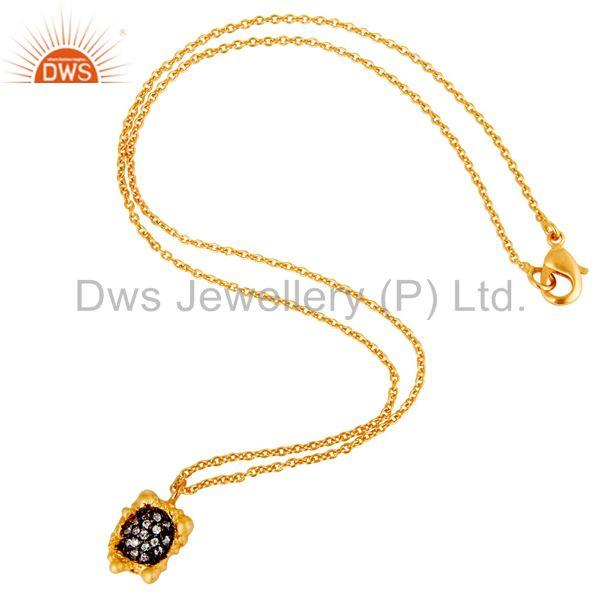 Suppliers 18k Gold Plated Good Look Little Charm White Zirconia Brass Chain Pendant