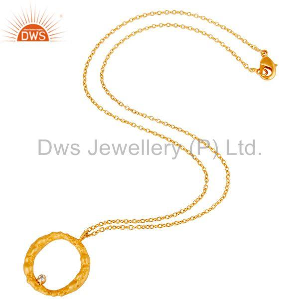 Suppliers Handmade White Zirconia Simple Setting Brass Chain Pendant With 18k Gold Plated