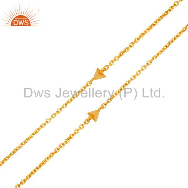Suppliers Peach Moonstone & White Zirconia Brass Chain Pendant With 18K Gold Plated