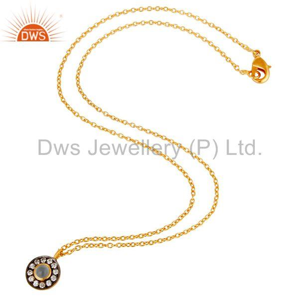 Suppliers Chalcedony & White Zirconia Charm Little 18k Gold Plated Brass Chain Pendant