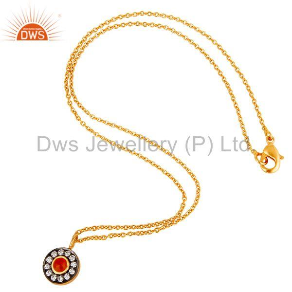 Suppliers Carnelian & White Zirconia Charm Little 18K Gold Plated Brass Chain Pendant