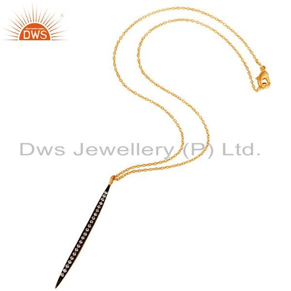Suppliers 18k Gold Plated White Zirconia Hot Simple Thin Brass Chain Pendant Necklace