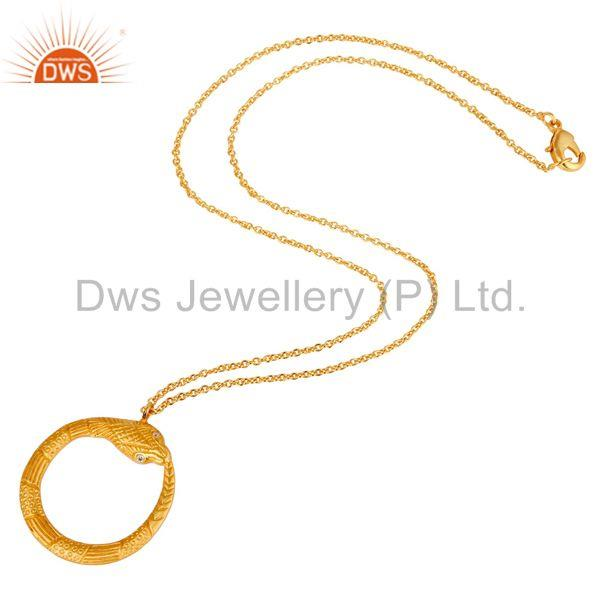 Suppliers Beautiful Round Brass Chain Pendant With 18k Gold Plated & White Zirconia