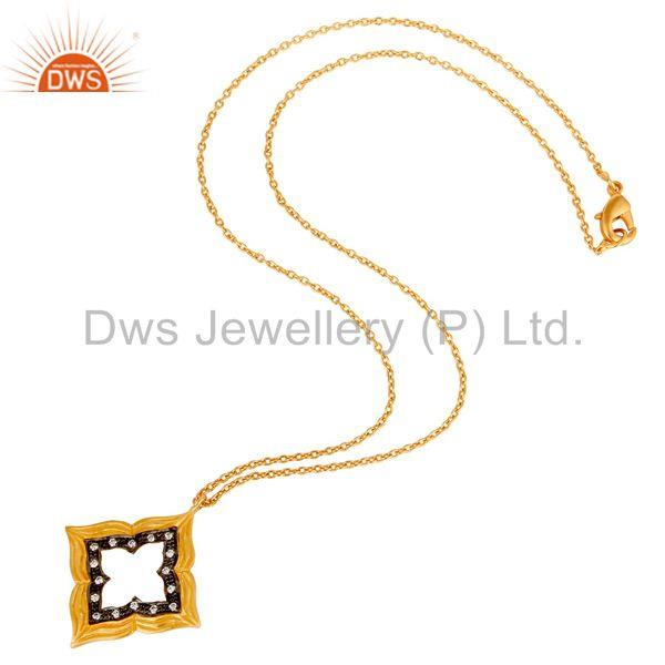 Suppliers Lovely Good Look Vintage Brass Chain Pendant With 18k Gold Plated & White Zircon