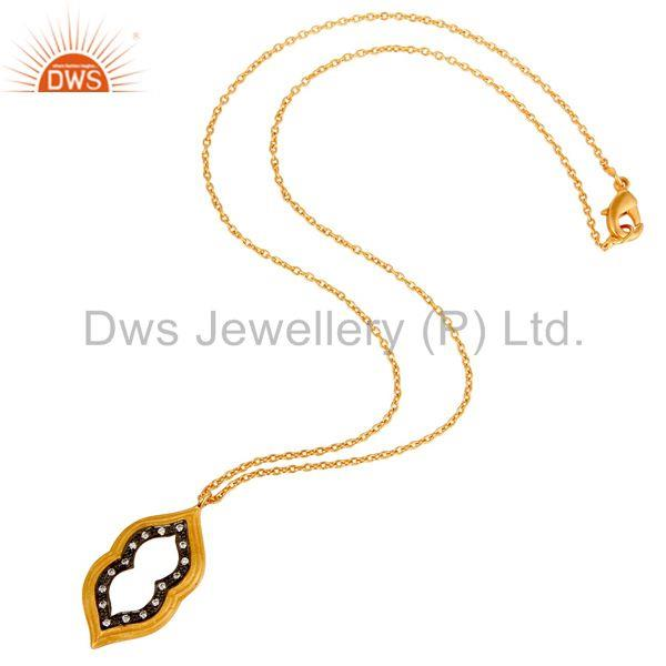 Suppliers Beautiful Fashio Vintage Brass Chain Pendant With 18k Gold Plated & White Zircon