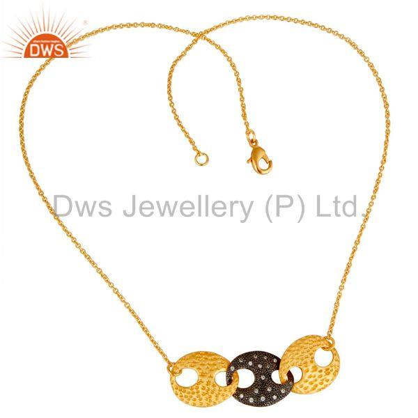Suppliers Traditional Bazel Set Brass Chain Pendant With 18k Gold Plated & White Zircon