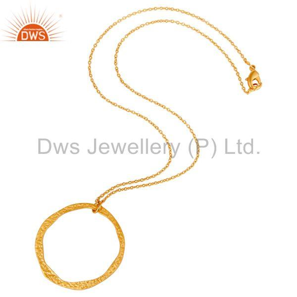 Suppliers Traditional Handmade 18k Gold Plated Simple Fashion Round Brass Chain Pendant