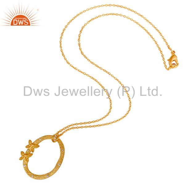 Suppliers 22K Gold Plated Handmade Butterfly Design White Zirconia Chain Pendant Necklace