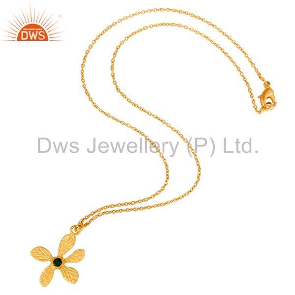 Suppliers 18k Gold Plated Natural Green Onyx Handmade Flower Style Brass Chain Pendant