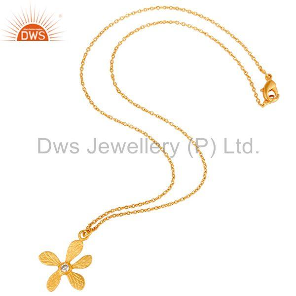 Suppliers 18k Gold Plated White Zirconia Handmade Flower Style Brass Chain Pendant