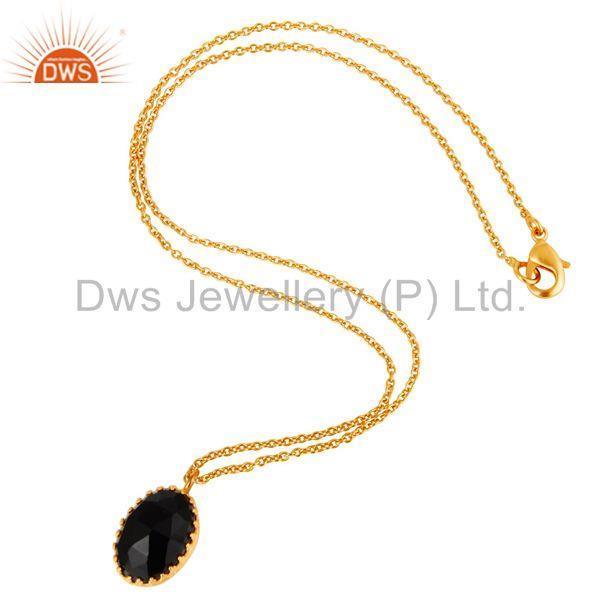 Suppliers Necklace with Rococo lace Black Onyx Studded Rose Cut Stone Designer pendent