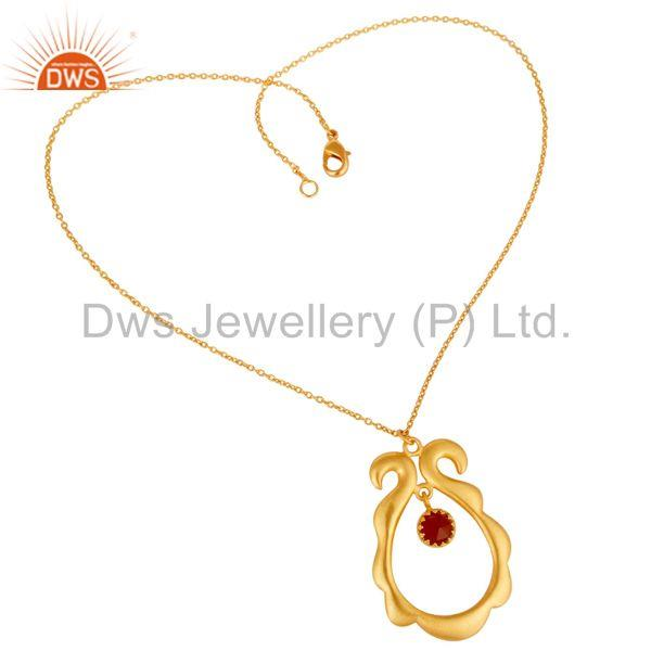 Suppliers 18k Gold Plated Vintagle Temple Style Brass Chain Pendant With Naturl Red Onyx