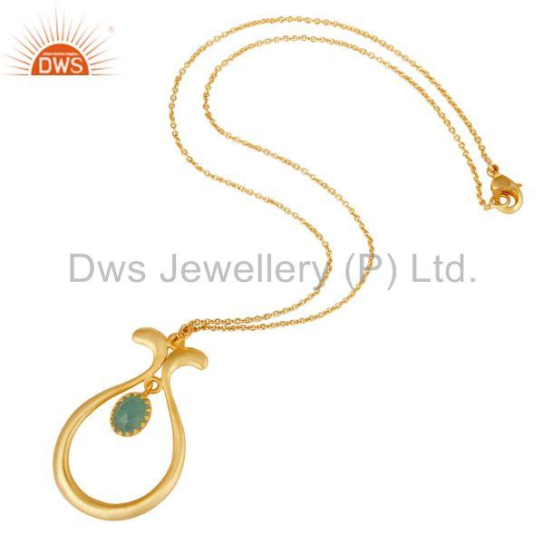 Suppliers 18K Yellow Gold Plated Handmade Cultured Aqua Brass Chain Pendant Necklace