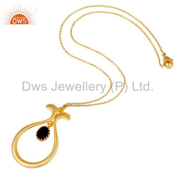 Suppliers 18k Gold Plated Vintagle Temple Style Brass Chain Pendant With Blue Corrundum