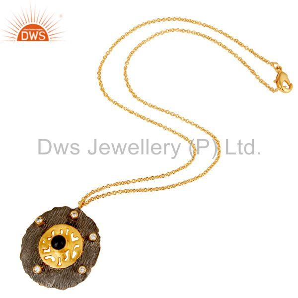 Suppliers Black Onyx & White Zirconia Brass Chain Pendant With 18K Gold Plated Jewellery