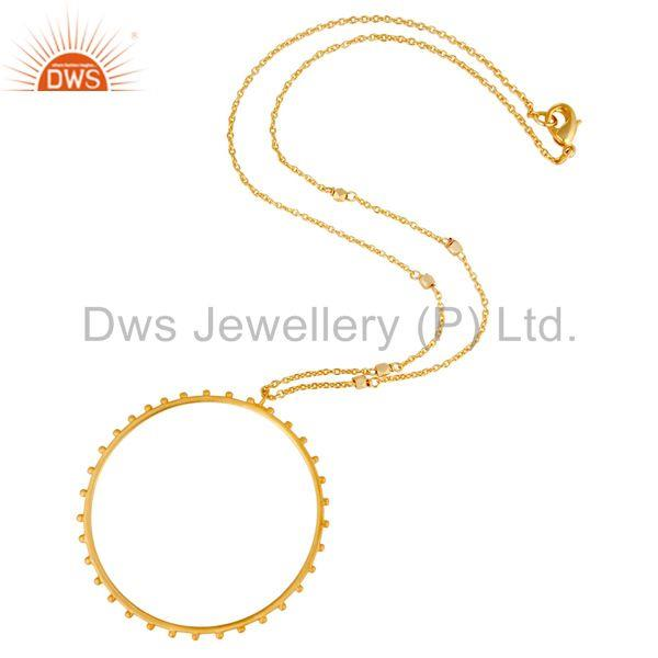 Suppliers Traditional Handmade 18K Gold Plated Wide Round Cut Brass Chain Pendant Necklace