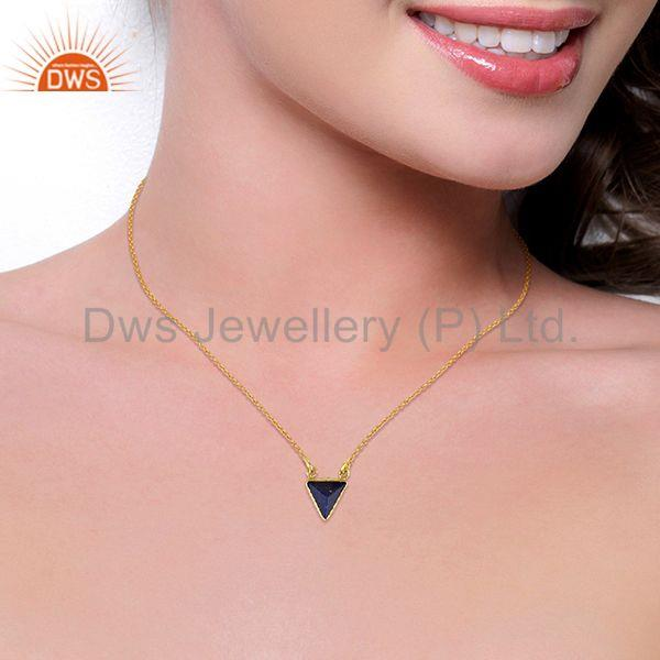Suppliers 14K Yellow Gold Plated Handmade Pyramid Design Lapis Lazuli Chain Pendant