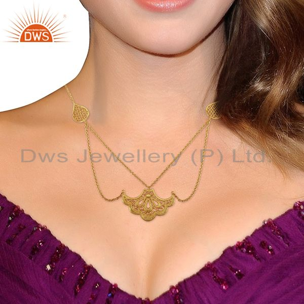 Suppliers Indian Filigree Design Gold Plated Brass Fashion Wedding Wear Necklace