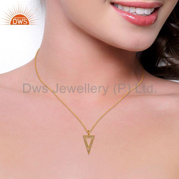 Suppliers Triangle Design Brass Gold Plated White Zircon Chain Pendant Jewelry