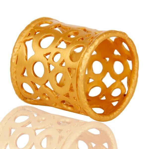 Suppliers Good Design Tradition Brass Ring With 18k Gold Plated