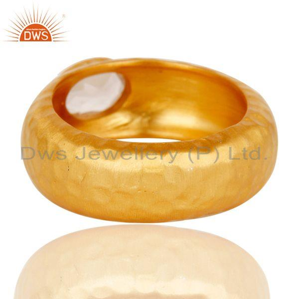 Suppliers AAA+++ Design Brass Ring With 18k Gold Plated and Crystal Quartz