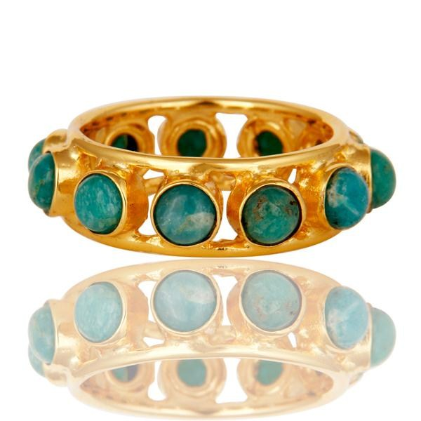 Suppliers 18k Gold Plated Traditional Round Cut Ring with Amazonite
