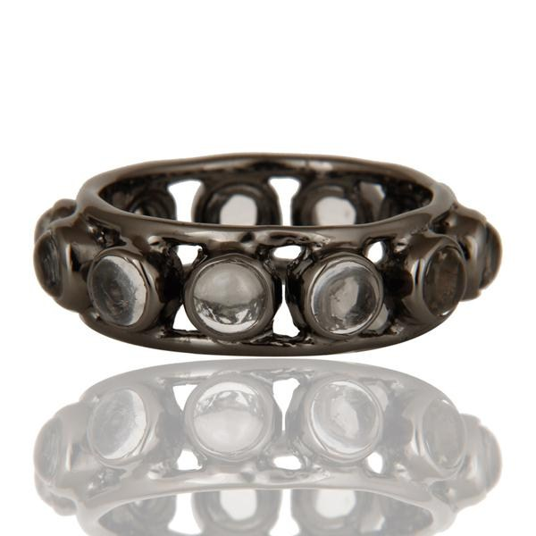 Suppliers Traditional Black Oxidized Round Cut Brass Ring with Crystal
