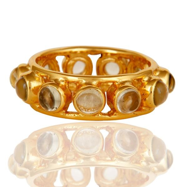 Suppliers Traditional 18k Gold Plated Round Cut Brass Ring with Lemon Topaz