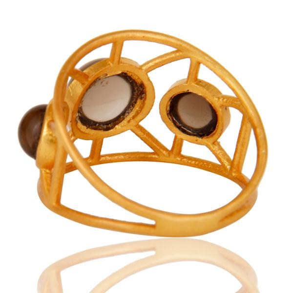 Suppliers 18k Gold Plated Traditional Brass Ring with Smokey Topaz