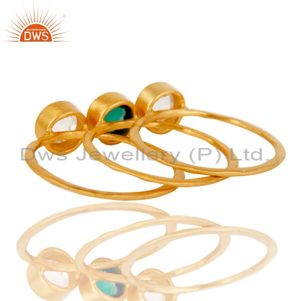 Suppliers 18K Gold Plated Green Onyx & Crystal Quartz 3 Set Of Brass Stackable Ring