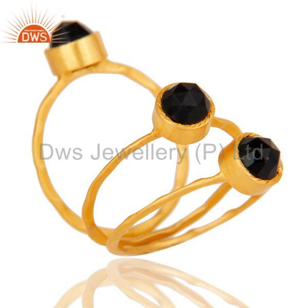 Suppliers 18K Gold Plated Black Onyx Rose Cut 3 Set Of Brass Stackable Ring