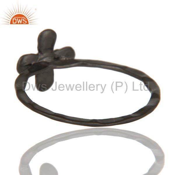 Suppliers Lovely Black Oxidized Handmade Flower Design Brass Stackable Ring