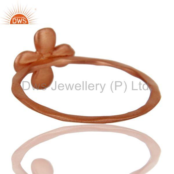 Suppliers Lovely 18k Rose Gold Plated Handmade Flower Design Brass Stackable Ring