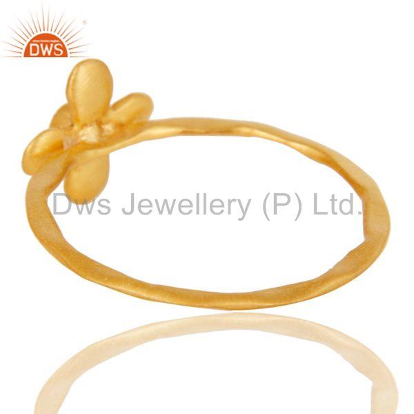Suppliers Handmade Flower Design White Zirconia Brass Stackable Ring With 18k Gold Plated