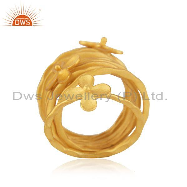 Suppliers Wholesale Floral Brass Gold Plated Handmade 9 Rings Set Jewelry