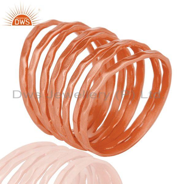 Suppliers Rose Gold Plated Brass Handmade Stackable Band Ring Manufacturer Jaipur