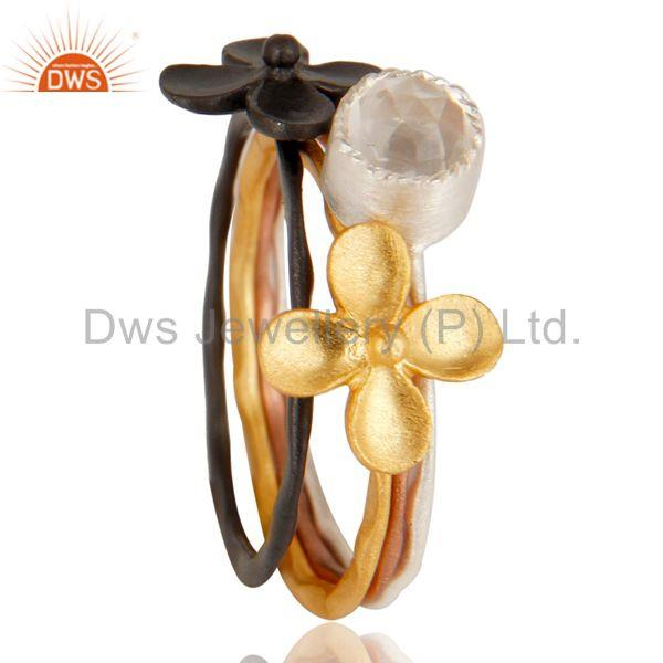 Suppliers Floral Design Multi Color Brass Fashion Rings Jewelry Wholesale
