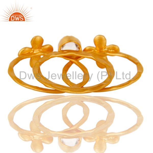 Suppliers 22K Gold Plated Handmade Crystal Quartz 3 Set Of Brass Stackable Ring