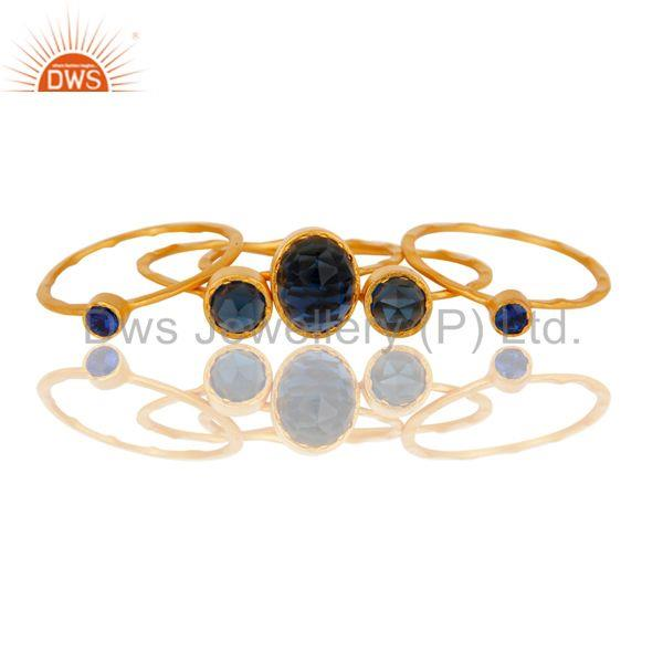Suppliers 22K Gold Plated Zircon Blue Sapphire & Blue Corrundum 5 Set Of Ring