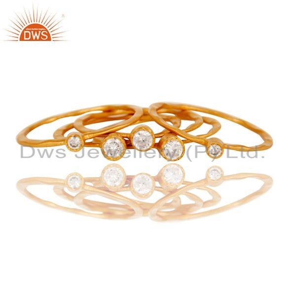 Suppliers Cz studded Hand Hammered Stacking Designer Ring